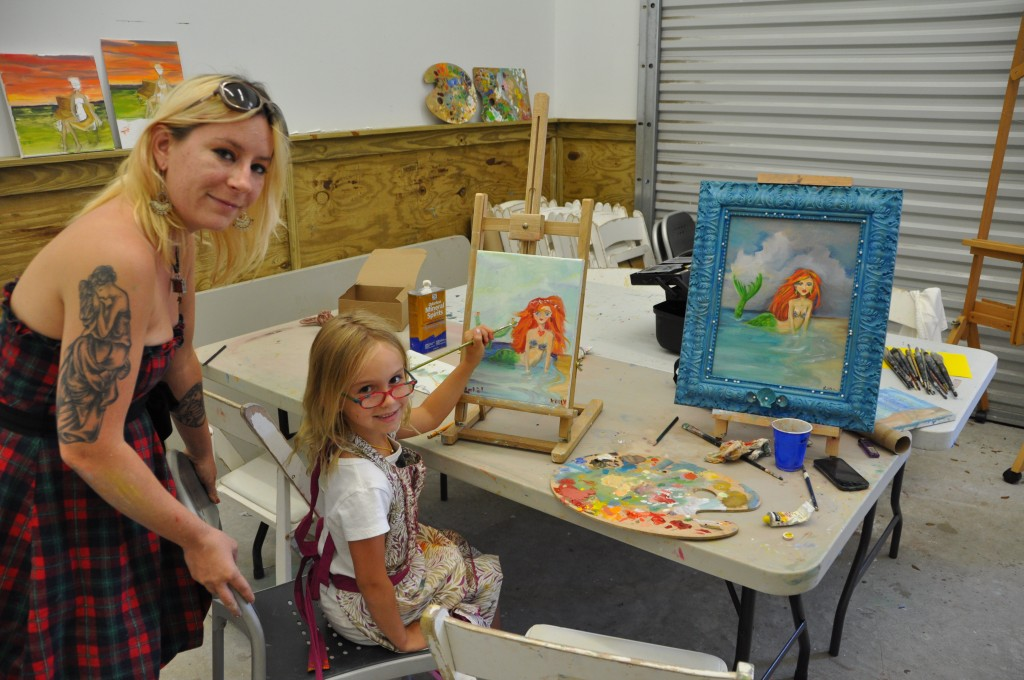 Artist/instructor Lena Moschet and her student Keely Hinn