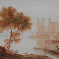 John Glover - Watercolor - Caernarvon Castle